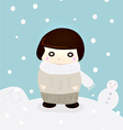 girl in winter snow cute season greeting vector image