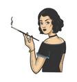 girl mouthpiece cigarette sketch vector image vector image