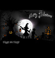 halloween background with a little girls vector image vector image