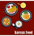 Korean cuisine food and beverages vector image vector image