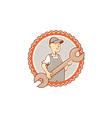 Mechanic Spanner Wrench Rosette Cartoon vector image vector image
