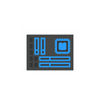motherboard icon flat cartoon style vector image