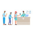 people in queue to pharmacist in pharmacy store vector image vector image
