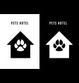 pet hotel icon black house with dog footprint vector image vector image