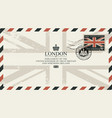 postcard or envelope with flag of united kingdom vector image vector image