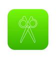 scissors icon green vector image vector image