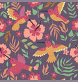seamless pattern with hummingbirds and hibiscus vector image vector image