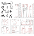Set of patterns of women clothes and sewing vector image vector image