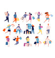 shopping characters people in market boutique vector image vector image