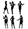 six businesswomen silhouette vector image vector image