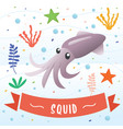 squid animal cartoon character vector image vector image