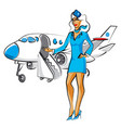stewardess with passenger airplane vector image
