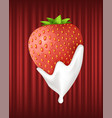strawberry served with cream sweet berry dessert vector image