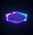 techno glow neon frame on dark brick texture wall vector image vector image