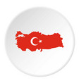 turkey map in national flag colors icon circle vector image vector image