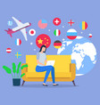 woman plan vacation to another country on plane vector image vector image