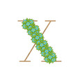 wooden leaves letter x vector image vector image