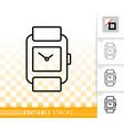 wristwatch simple black line icon vector image vector image