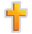 yellow christian cross on a white background vector image vector image