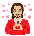 young man heartthrob making heart shape vector image