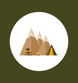 mountains tourist tent hiking backpack rope vector image