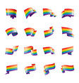 a rainbow flag waving on white background vector image