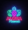 aloha neon sign aloha hawaii design vector image
