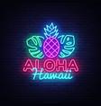 aloha neon sign hawaii design vector image