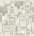 beige seamless patterns with set beer bottle vector image