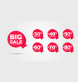 big sale tags with sale up to 30 - 90 percent text vector image vector image