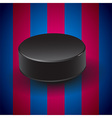 Blue and pomegranate background with hockey puck vector image vector image