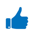 blue hand silhouette with thumb up gesture of vector image vector image