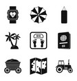 carefree life icons set simple style vector image vector image