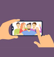 cartoon color characters people friends taking a vector image vector image