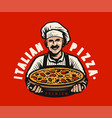 chef with italian freshly baked pizza restaurant vector image