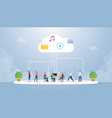 cloud computing technology with various people vector image vector image