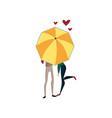couple in love under one big umbrella rainy vector image