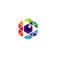 creative colorful pixel hexagon technology logo vector image