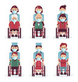disabled people in wheelchairs medical workers in vector image