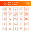 firefighting fire safety equipment flat line vector image vector image