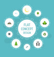 flat icons landscape eco energy wood vector image vector image