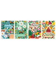 four different colorful summer poster designs vector image