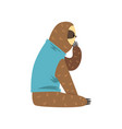 funny sloth in blue t shirt sitting lazy exotic vector image vector image