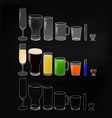 glasses with drinks and empty glasses on chalk vector image vector image