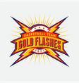 gold flashes sport team logo circle lightning vector image