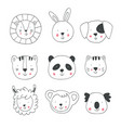 hand drawing animal faces vector image vector image