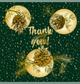 holiday card with golden realistic botanical vector image vector image