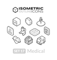 isometric outline icons set 17 vector image