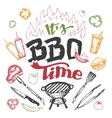 It is barbecue time hand drawn elements set vector image vector image