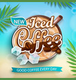 label of iced coffee with iced cubes vector image